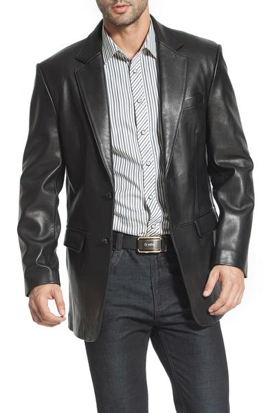 bgsd mens richard classic two button new zealand lambskin leather blazer short