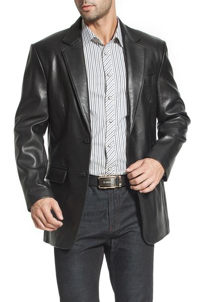 "BGSD Men's ""Richard"" Classic Two-Button New Zealand Lambskin Leather Blazer - Short"