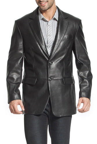 "BGSD Men's ""Steven"" Classic Two-Button Lambskin Leather Blazer"