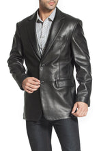 "Load image into Gallery viewer, BGSD Men's ""Richard"" Classic Two-Button Lambskin Leather Blazer - Tall"