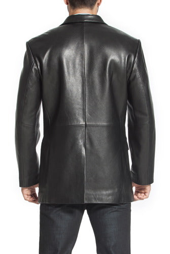 "BGSD Men's ""Steven"" Classic 2-Button Lambskin Leather Blazer - Big & Tall"