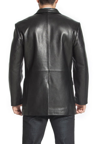"BGSD Men's ""Steven"" Classic 2-Button Lambskin Leather Blazer - Short"