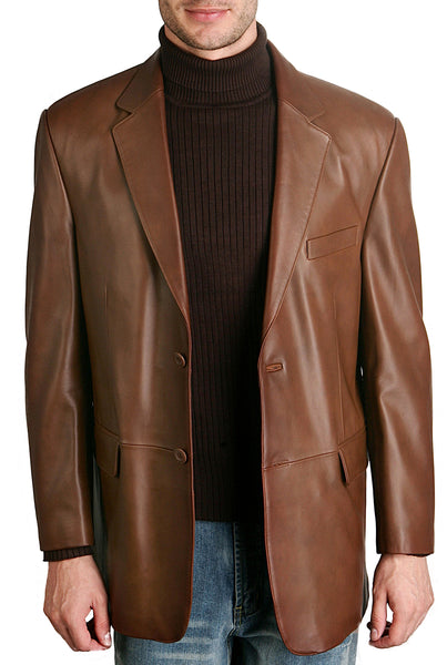bgsd mens classic two button lambskin leather blazer 2