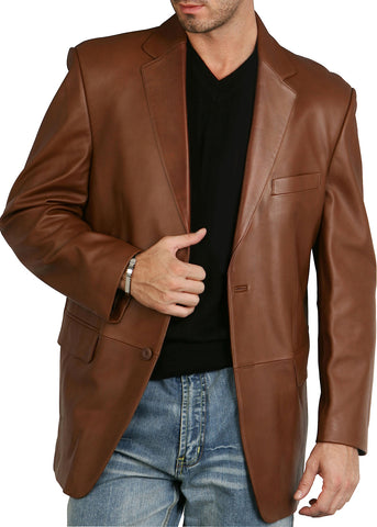 "BGSD Men's ""Richard"" Classic Two-Button New Zealand Lambskin Leather Blazer - Big"