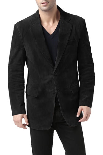"BGSD Men's ""Cliff"" Classic Two-Button Suede Leather Blazer - Short"