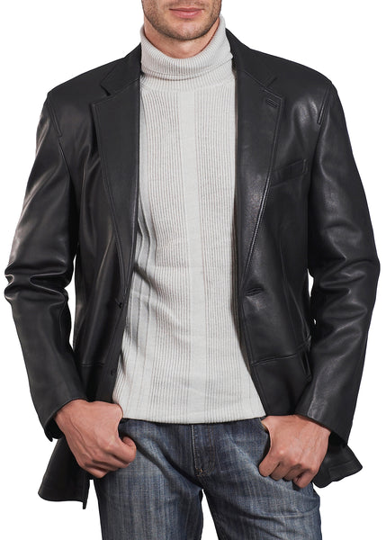 "BGSD Men's ""Grant"" Two-Button New Zealand Lambskin Leather Blazer - Big & Tall"