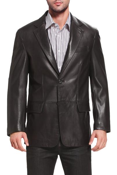 "BGSD Men's ""Grant"" Two-Button New Zealand Lambskin Leather Blazer - Short"