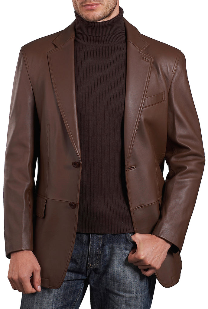 "BGSD Men's ""Grant"" Two-Button New Zealand Lambskin Leather Blazer - Big"