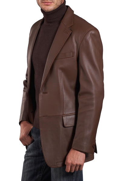 bgsd mens grant two button new zealand lambskin leather blazer big tall 2