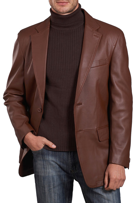 bgsd mens grant two button new zealand lambskin leather blazer big 3