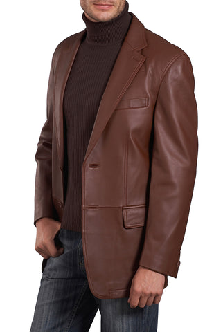 bgsd mens grant two button new zealand lambskin leather blazer big tall 3