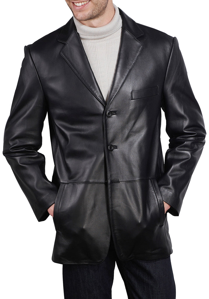 BGSD Men's Three-Button Lambskin Leather Blazer