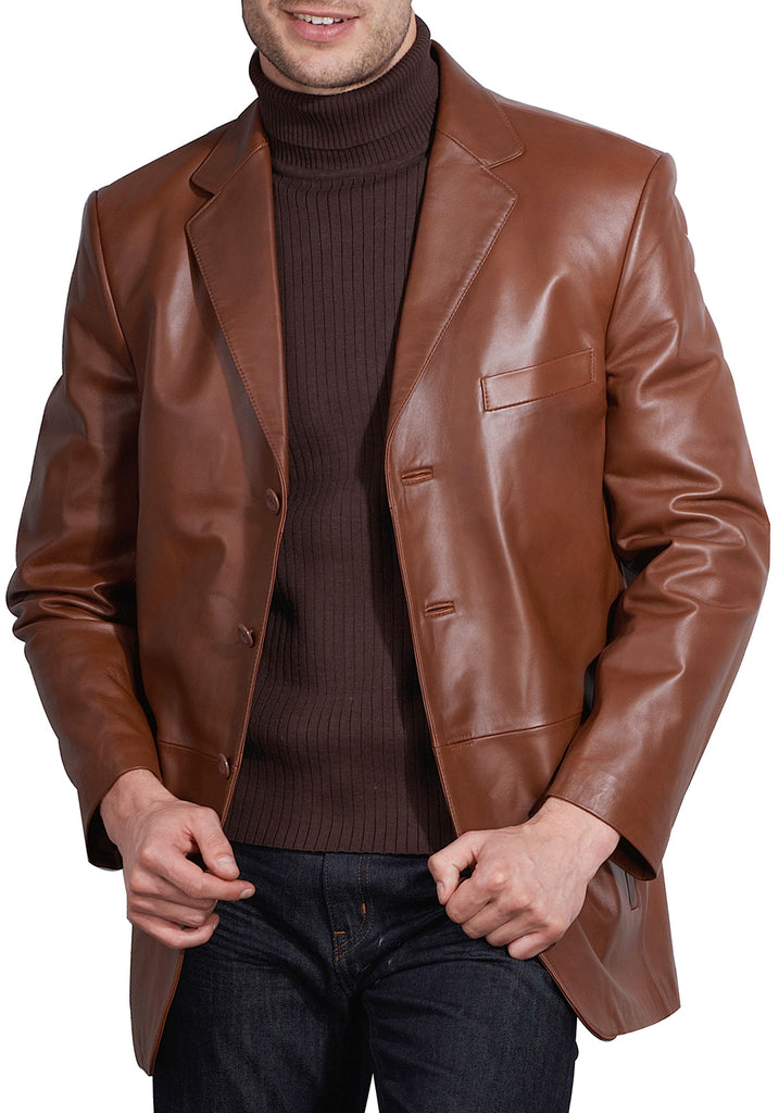 BGSD Men's Three-Button Lambskin Leather Blazer - Tall