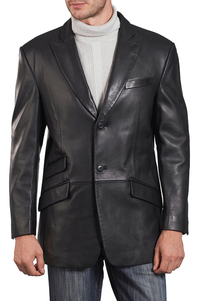 "BGSD Men's ""Noah"" Peaked-Lapel Lambskin Leather Blazer - Big & Tall"
