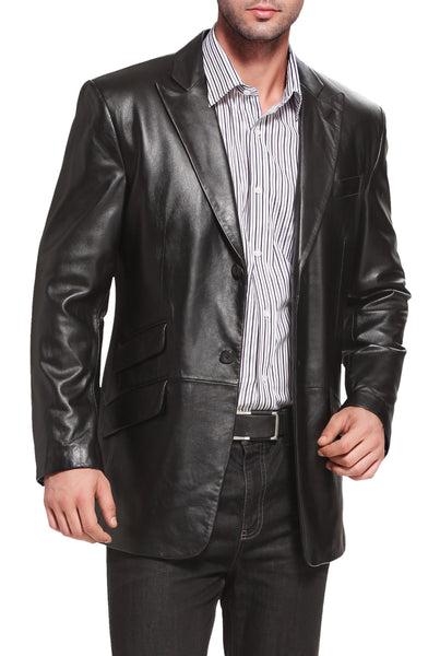 bgsd mens noah peaked lapel lambskin leather blazer big