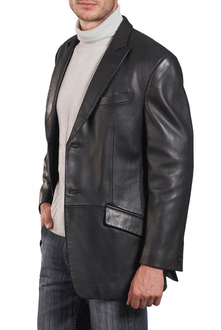 bgsd mens noah peaked lapel lambskin leather blazer big tall