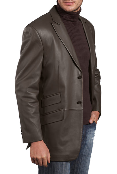 "BGSD Men's ""Noah"" Two-Button Lambskin Leather Blazer - Big"
