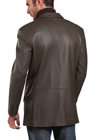 "BGSD Men's ""Noah"" Peaked-Lapel Lambskin Leather Blazer - Big"