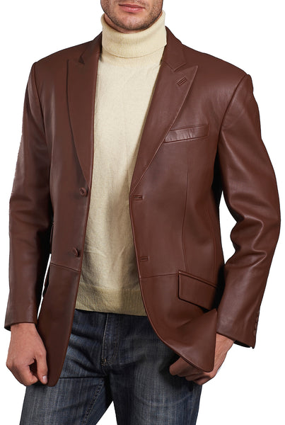 bgsd mens noah peaked lapel lambskin leather blazer big tall 2