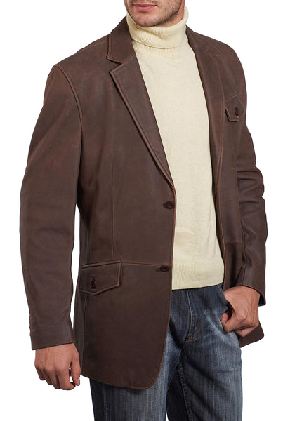 bgsd mens two button cowhide leather blazer tall