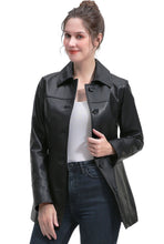 Load image into Gallery viewer, BGSD Women's New Zealand Lambskin Leather Coat - Plus