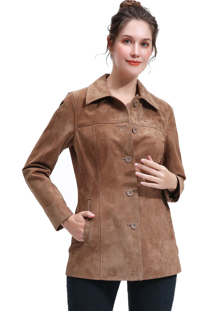 BGSD Women's Suede Leather Coat - Plus
