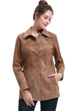Load image into Gallery viewer, BGSD Women's Suede Leather Coat - Plus