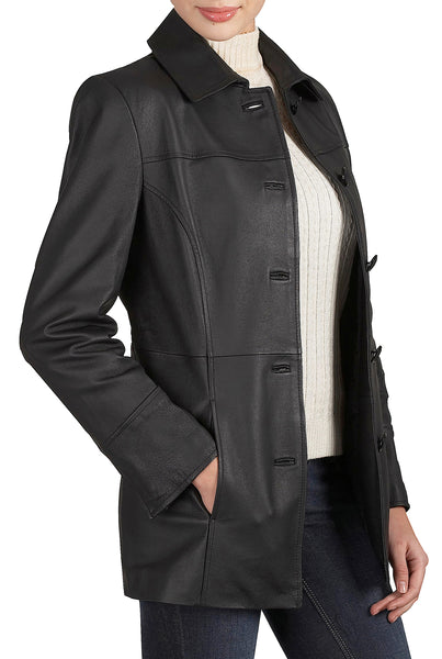 "BGSD Women's ""Megan"" Lambskin Leather Car Coat"