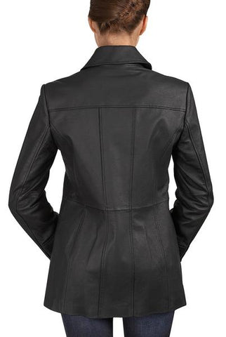"BGSD Women's ""Megan"" Button Front Lambskin Leather Car Coat - Short"