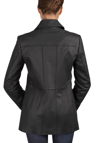 "BGSD Women's ""Megan"" Button Front Lambskin Leather Car Coat"