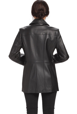 "BGSD Women's ""Megan"" Button Front Lambskin Leather Car Coat - Plus Short"