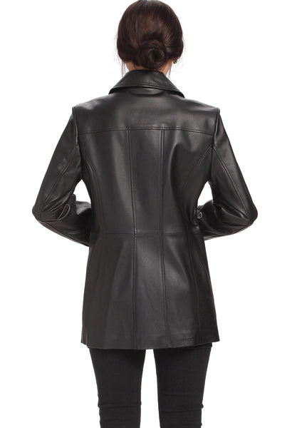 "BGSD Women's ""Megan"" Button Front Lambskin Leather Car Coat - Plus"