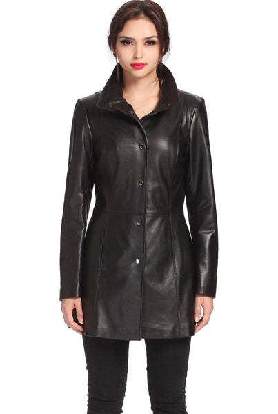 bgsd womens jocelyn lambskin leather car coat plus