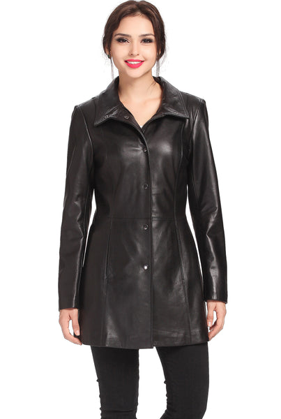 "BGSD Women's ""Jocelyn"" Lambskin Leather Car Coat - Plus"
