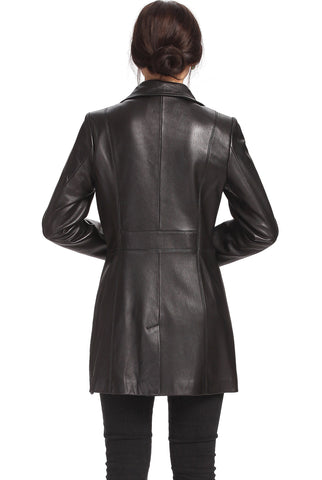 "BGSD Women's ""Jocelyn"" Lambskin Leather Car Coat - Plus Short"