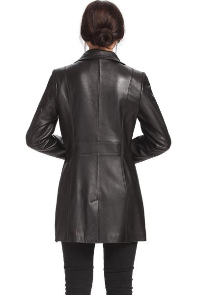 "BGSD Women's ""Jocelyn"" Lambskin Leather Car Coat - Short"