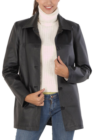 BGSD Women's Five-Button Lambskin Leather Car Coat