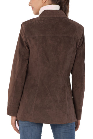 "BGSD Women's ""Anna"" Suede Leather Car Coat - Plus Short"