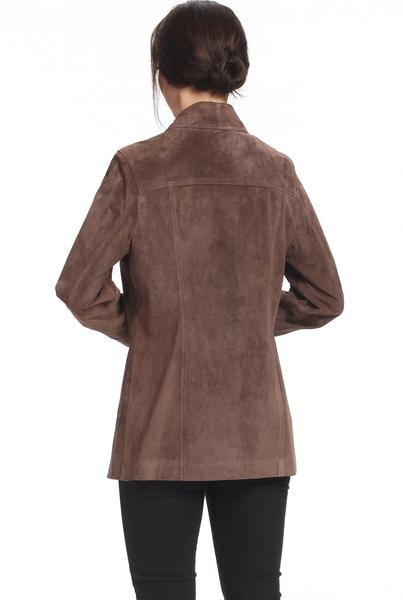 "BGSD Women's ""Anna"" Suede Leather Car Coat - Short"
