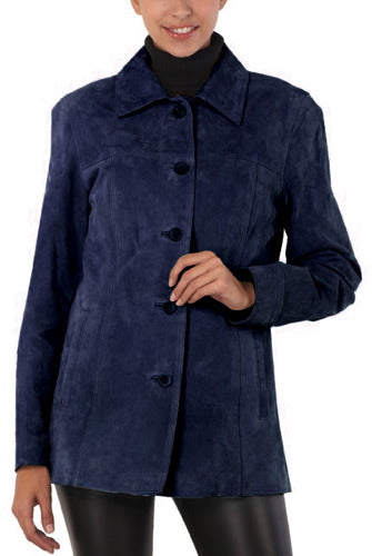 "BGSD Women's ""Anna"" Suede Leather Car Coat - Plus"