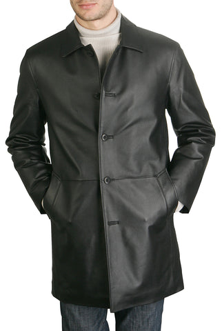 bgsd mens peter three quarter leather coat big