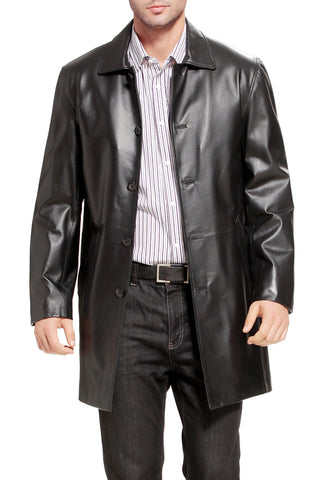 bgsd mens peter three quarter leather coat tall