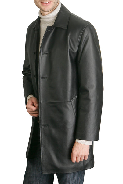 bgsd mens peter three quarter leather coat big tall