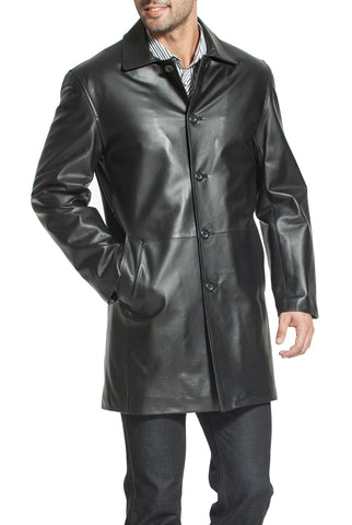 bgsd mens peter three quarter leather coat