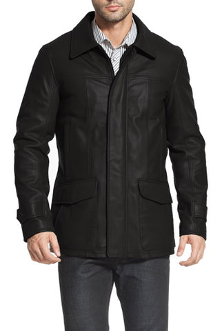 "BGSD Men's ""Hunter"" Patch Pocket Lambskin Leather Coat - Tall"