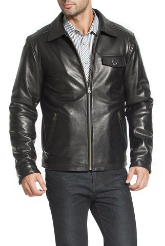 bgsd mens chuck zip front lambskin leather jacket