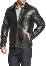 Load image into Gallery viewer, bgsd mens chuck zip front lambskin leather jacket