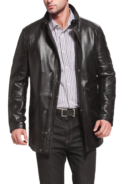 bgsd mens kyle new zealand lambskin leather car coat tall