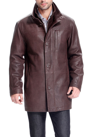 bgsd mens toby pebbled lambskin leather car coat