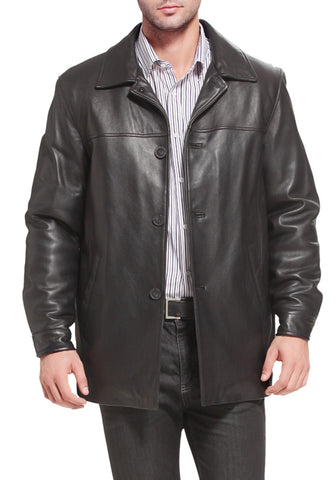 "BGSD Men's ""Samuel"" New Zealand Lambskin Leather Car Coat - Big & Tall"